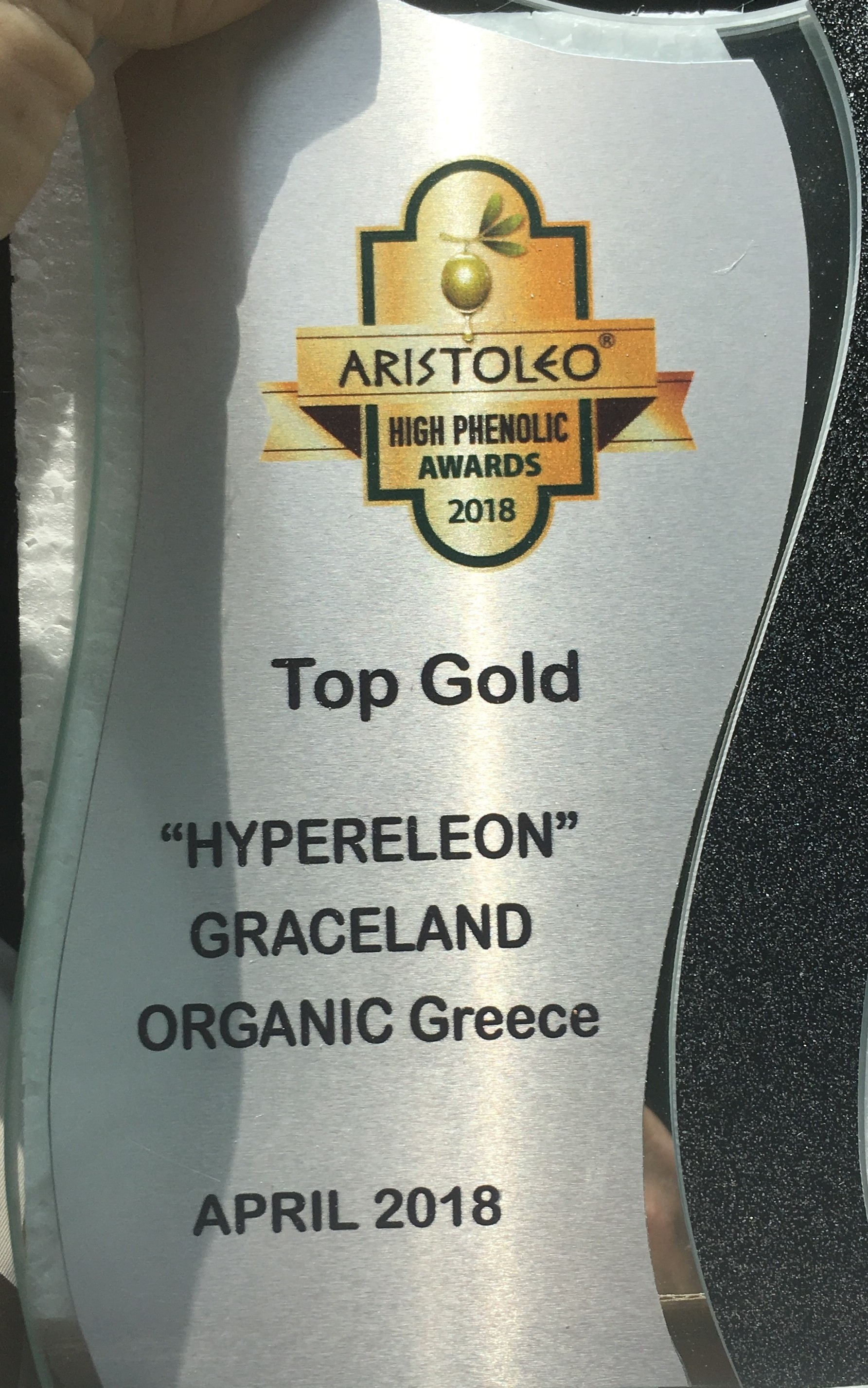 TOP GOLD ARISTOLEO HIGH PHENOLIC AWARD 2018 for Extremely High Phenolic Content & Great Taste for the GRACELAND TEAM (G-TEAM) , regarding the